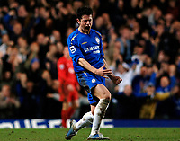 Photo: Daniel Hambury.<br />Chelsea v Liverpool. The Barclays Premiership. 05/02/2006.<br />Chelsea's Asier Del Horno celebrates his sides second goal.