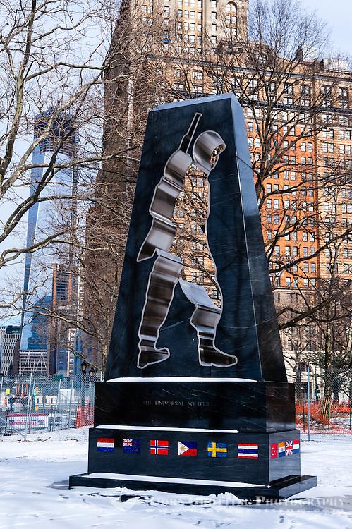 US, New York City. Battery Park located at the southern tip of Lower Manhattan. Korean War Veterans Memorial.