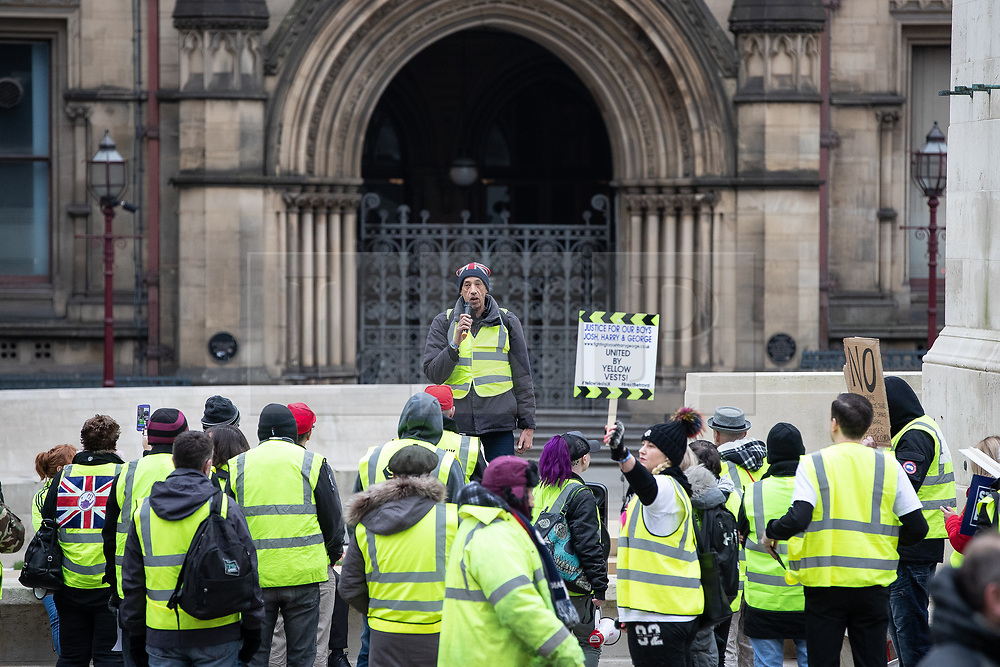 "© Licensed to London News Pictures . 05/01/2019. Manchester, UK. Event organiser Jon Lawrence speaks . A Yellow Vest demonstration takes place in St Peter's Square in central Manchester . The protest was organised via YouTube account "" Tommy Robinson News "" and was called in the wake of stabbings at Manchester Victoria Train Station on New Year's Eve . Protesters chanted in favour of Brexit , against police and press and carried pro-Trump and EDL clothing and placards . Photo credit : Joel Goodman/LNP"