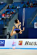 Ashram Linoy during qualifying at hoop in Pesaro World Cup at Adriatic Arena on April 01, 2016. Linoy is an Isrlaelian rhythmic gymnastics athlete born on May 13,1999 in Tel Aviv.