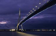 Normandy bridge at night  Normandie  France   /   Pont de Normandie, la nuit  Normandie  France
