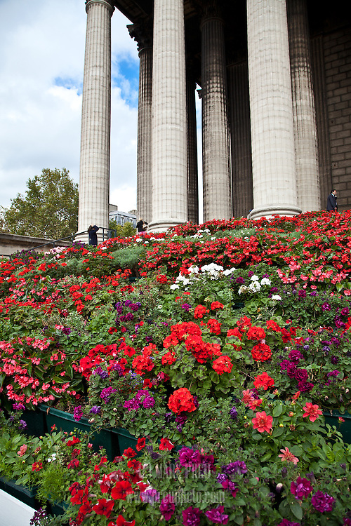 Flower-filled planters cover most of the front steps of the Church of St. Mary Magdalene in Paris.