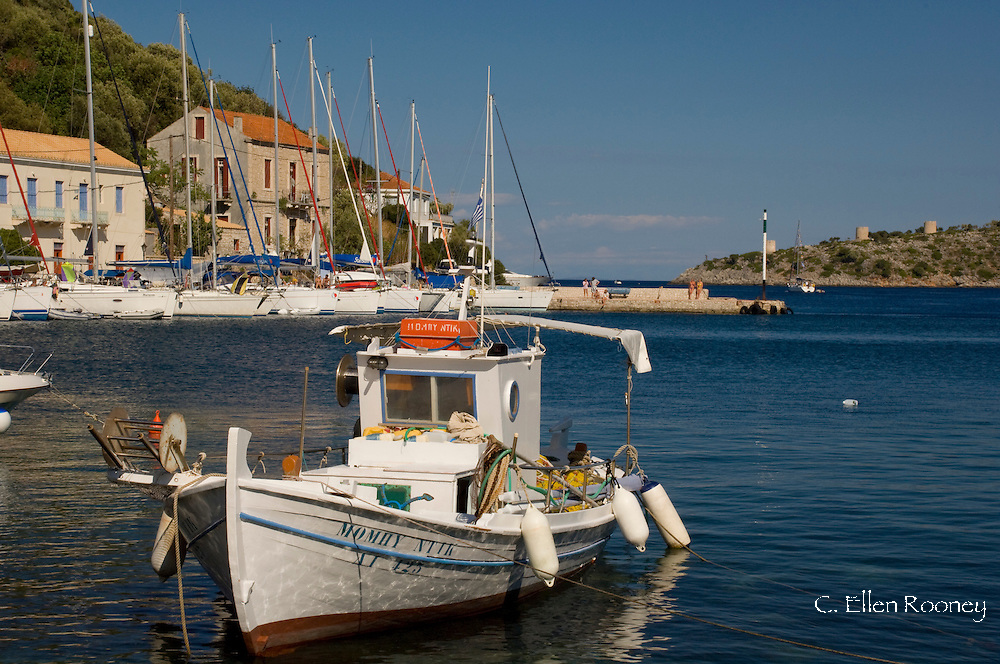 A traditional wooden fishing boat in the harbour of Kioni, Ithaca, The Ionian Islands, Greece