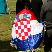 NLD/Amsterdam/20080518 - Opname strafschoppen EK Lingerie, croatische vlag