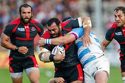 Georgia Prop Davit Zirakashvili is tackled by Argentina Prop Marcos Ayerza - Mandatory byline: Rogan Thomson/JMP - 07966 386802 - 25/09/2015 - RUGBY UNION - Kingsholm Stadium - Gloucester, England - Argentina v Georgia - Rugby World Cup 2015 Pool C.