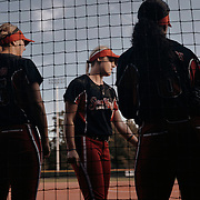 Outfielder, Emily Crane, center, and the rest of the starters assemble on the field before game time.<br /> <br /> Todd Spoth for The New York Times.