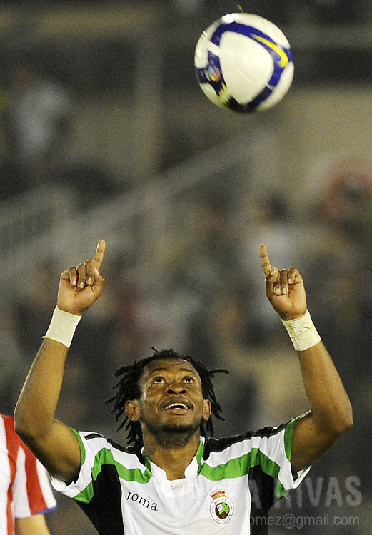 Racing Santander's Tchite celebrates his goal, his team's third one against Atletico Madrid, during a Spanish league football match, on April 23, 2009, at Sardinero stadium in Santander. PHOTO/Rafa Rivas