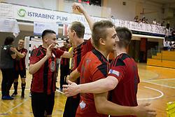 Players of FC Dobovec celebrates after futsal match between FC Litija and FC Dobovec Pivovarna Kozel in Final of 1.SFL 2017/18, on May 18, 2018 in Sports hall Litija, Litija, Slovenia. Photo by Urban Urbanc / Sportida