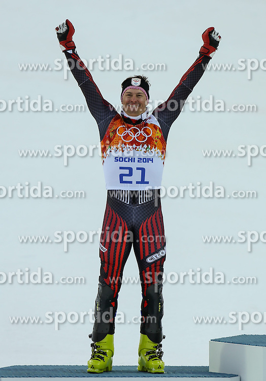 14.02.2014, Rosa Khutor Alpine Center, Krasnaya Polyana, RUS, Sochi, 2014, Super- Kombination, Herren, Flower Ceremonie, im Bild Silbermedaillen Gewinner Ivica Kostelic (CRO) // Silver Medalist Ivica Kostelic of Croatia during the Flower Ceremony of the mens Super Combined of the Olympic Winter Games 'Sochi 2014' at the Rosa Khutor Alpine Center, Krasnaya Polyana, Russia on 2014/02/14. EXPA Pictures &copy; 2014, PhotoCredit: EXPA/ Minkoff<br /> <br /> *****ATTENTION - OUT of GER*****