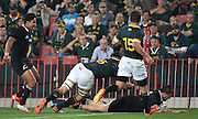 JOHANNESBURG, South Africa, 04 October 2014 : Dane Coles of the All Blacks goes over for his try during the Castle Lager Rugby Championship test match between SOUTH AFRICA and NEW ZEALAND at ELLIS PARK in Johannesburg, South Africa on 04 October 2014. <br /> The Springboks won 27-25 but the All Blacks successfully defended the 2014 Championship trophy.<br /> <br /> © Anton de Villiers / SASPA