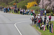 Hurley, New York  - People line Route 209 and wait for the motorcade escorting the body of  U.S. Army Sgt. Shawn M. Farrell II on May 7, 2014. Farrell died April 28 when forces attacked his unit with small arms fire in Afghanistan.