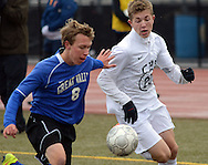 FRANCONIA, PA - NOVEMBER 1: Great Valley's Jameson Sarr #8 and Central Bucks East's Andrew Zach #23 chase a loose ball during the first half of the District One Championship game at Souderton High School November 1, 2014 in Franconia, Pennsylvania. Central Bucks East defeated Great Valley 1-0. (Photo by William Thomas Cain/Cain Images)