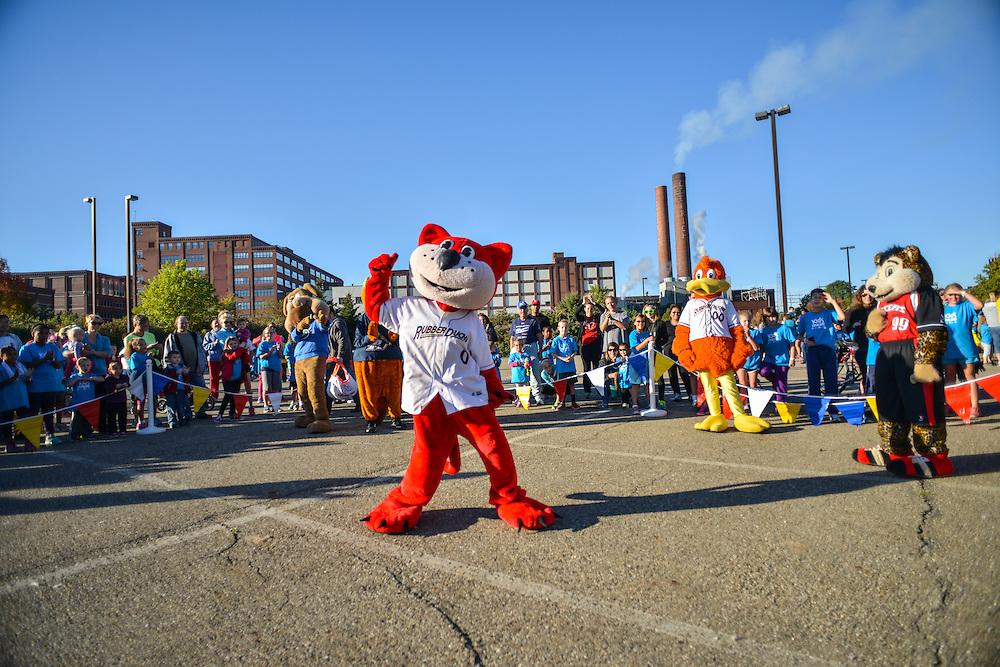 Orbit, mascot of the Akron RubberDucks, entertaining at the Kids Fun Run.