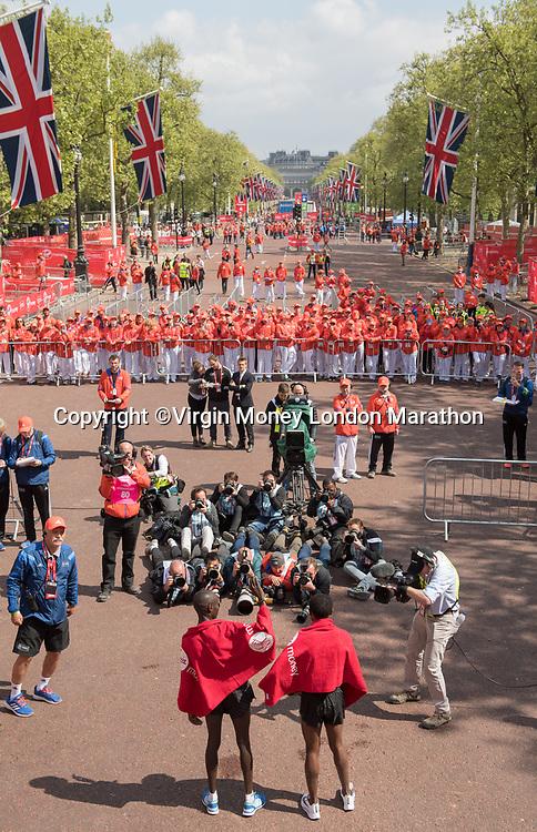 Presentations for the elite men's race. The Virgin Money London Marathon, 23rd April 2017.<br /> <br /> Photo: Thomas Lovelock for Virgin Money London Marathon<br /> <br /> For further information: media@londonmarathonevents.co.uk