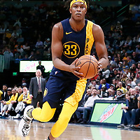 03 April 2018: Indiana Pacers center Myles Turner (33) drives during the Denver Nuggets 107-104 victory over the Indiana Pacers, at the Pepsi Center, Denver, Colorado, USA.