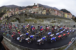 March 18, 2017 - San Remo, Italie - SANREMO, ITALY - MARCH 18 : Illustration picture of the peloton passing Campo Ligure during the UCI WorldTour 108th Milan - Sanremo cycling race with start in Milan and finish at the Via Roma in Sanremo on March 18, 2017 in Sanremo, Italy, 18/03/2017  (Credit Image: © Panoramic via ZUMA Press)