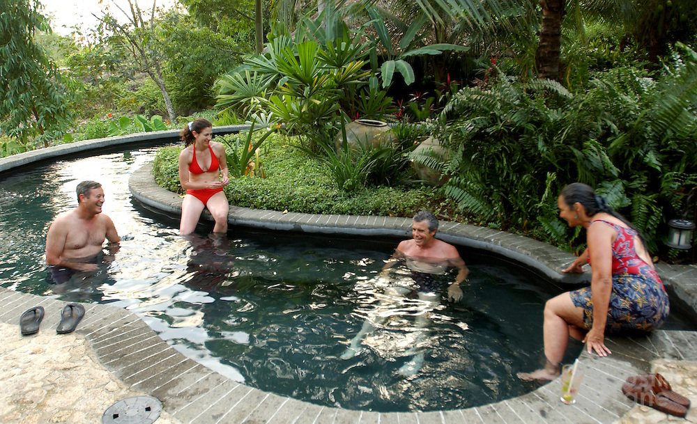 Guests are seen enjoying the hot pool at the Blancaneaux Lodge, one of Francis Ford Coppola's resorts, in the eastern part of Belize.<br />