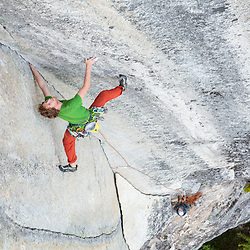 Quentin Roberts climbing North Star, 5.13b  on The Chief in Squamish, BC