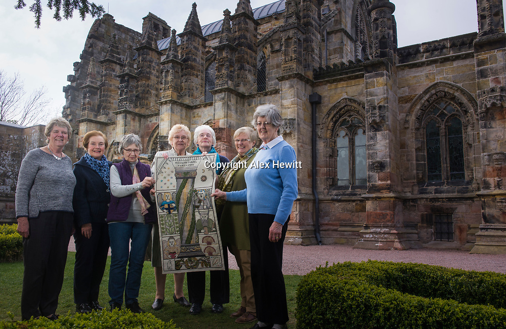 FREE PICTURE FOR GREAT TAPESTRY OF SCOTLAND PUBLICITY. TO ACCOMPANY PRESS RELEASE.<br /> <br /> The Roslin stitching group of the Great Tapestry of Scotland showcase the replacement for the Rosslyn chapel panel that was stolen in September 2015<br /> <br /> Pip Peat, Anne Beedie, Barbara Stokes, Margaret Humphries, Jean Lindsay, Fiona Macintosh, Jinty Murray<br /> <br /> picture by Alex Hewitt<br /> alex.hewitt@gmail.com<br /> 07789 871 540