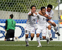 Fotball<br /> VM U20 - Canada<br /> 03.07.2007<br /> Foto: imago/Digitalsport<br /> NORWAY ONLY<br /> <br /> Tsjekkia v Nord Korea<br /> Torjubel Nordkorea U20, v.li.: Kyong Il Kim, Kum Il Kim und Song Chol Pak
