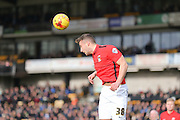 Coventry City Baily Cargill  heads clear during the Sky Bet League 1 match between Port Vale and Coventry City at Vale Park, Burslem, England on 7 February 2016. Photo by Simon Davies.