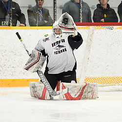 DRYDEN, ON - MAY 2: Landon Pavlisin #35 of the Dryden GM Ice Dogs makes the save in the first period during Game Four of the Central Canadian Junior Championship during the 2018 Dudley Hewitt Cup on May 2, 2018 at the Dryden Memorial Arena in Dryden, Ontario, Canada. (Photo by Andy Corneau/DHC via OJHL Images)