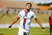 Kian Flanagan celebrates firing Palace into a two goal lead during the Pre-Season Friendly match between Lewes FC and Crystal Palace at the Dripping Pan, Lewes, United Kingdom on 1 August 2015. Photo by Michael Hulf.