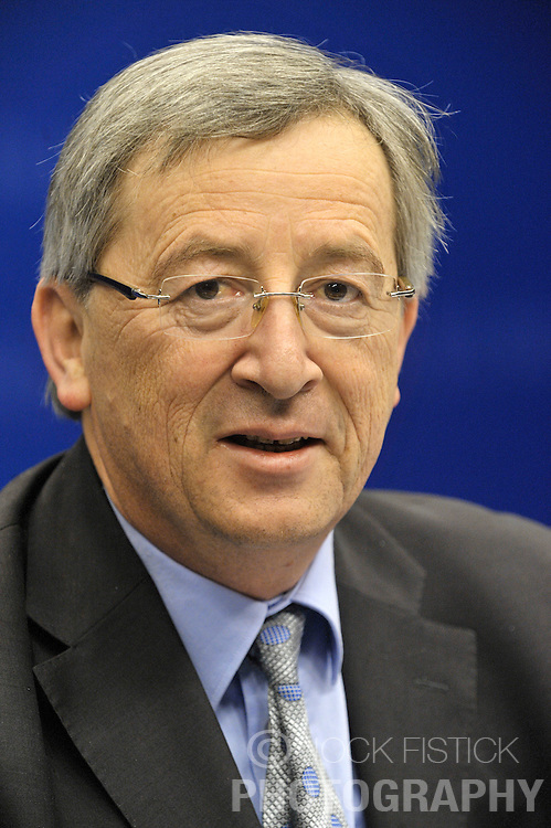 Jean-Claude Juncker, Luxembourg's prime minister and president of Euro Group, smiles during a news conference, following the monthly Euro Group meeting in Brussels, Belgium, Monday, Feb. 9, 2009.  (Photo © Jock Fistick)