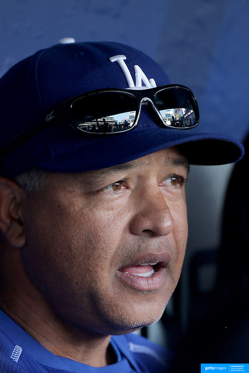 NEW YORK, NEW YORK - May 27:  Dave Roberts the Los Angeles Dodgers manager, talking to the media before the Los Angeles Dodgers Vs New York Mets regular season MLB game at Citi Field on May 27, 2016 in New York City. (Photo by Tim Clayton/Corbis via Getty Images)