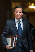 © Licensed to London News Pictures. 18/03/2015. Westminster, UK British Prime Minister David Cameron leaves Downing Street on the day of the spring budget 2015. Photo credit : Stephen Simpson/LNP