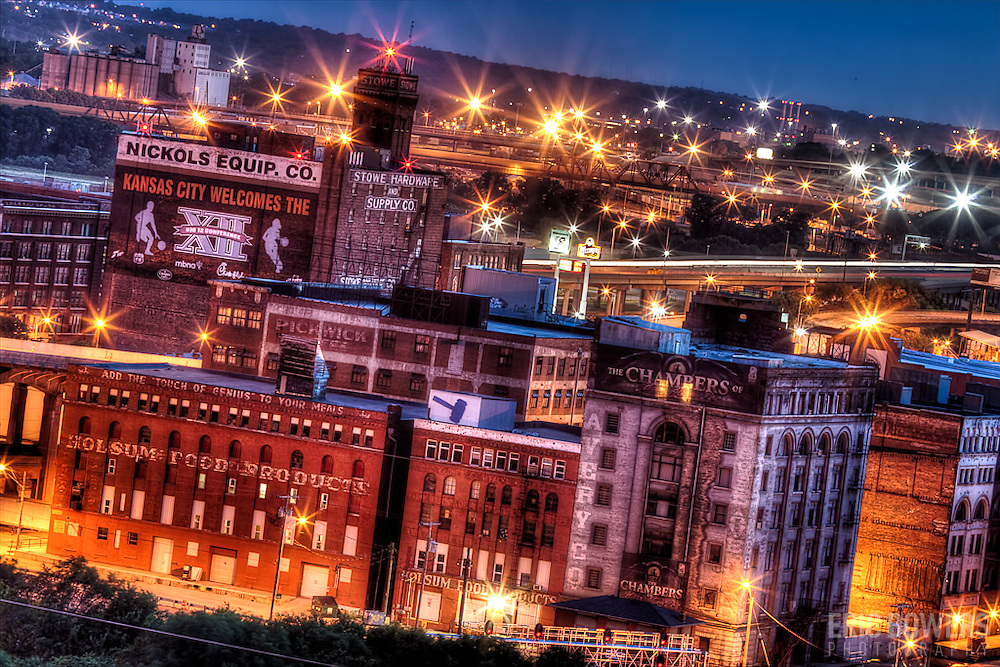 View of the West Bottoms industrial area from the lookouts at Case Park in downtown Kansas City, Missouri at dusk, June 18, 2011.