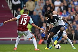 West Ham United's Ravel Morrison and Everton's Romelu Lukaku compete for the ball - Photo mandatory by-line: Mitch Gunn/JMP - Tel: Mobile: 07966 386802 21/09/2013 - SPORT - FOOTBALL - Boleyn Ground - London - West Ham United V Everton - Barclays Premier League