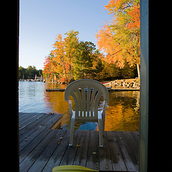 View from the boathouse at the Oliver Lodge on Lake Winnipesauke in Meredith, New Hampshire.