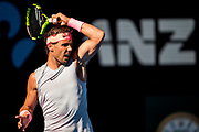 MELBOURNE, VIC - JANUARY 17: Rafael Nadal of Spain plays a shot in his second round match during the 2018 Australian Open on January 17, 2018, at Melbourne Park Tennis Centre in Melbourne, Australia. (Photo by Jason Heidrich/Icon Sportswire)MELBOURNE, VIC - JANUARY 17: