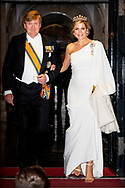 AMSTERDAM - King Willem-Alexander and Queen Maxima<br /> 9 Apr 2019 Dinner for the diplomatic corps at the Royal Palace, Amsterdam, The Netherlands - 09 Apr 2019<br /> copyrught robin utrecht