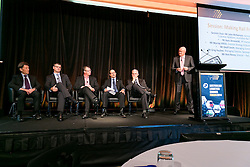 Making Rail Freight Work. Mr John McNamara (Session Chair), Mr Hans Anneveldt, Mr Murray Vitlich, Mr Geoff Smith, Mr Greg Pauline, Mr Ross Nacey. ALC Forum 2014. Day 1. Australian Logistics Council. Royal Randwick Racecourse. Sydney. Photo: Pat Brunet/Event Photos Australia
