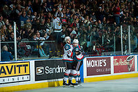 KELOWNA, CANADA - APRIL 14: Reid Gardiner #23 and Dillon Dube #19 celebrate a first period goal against the Portland Winterhawks of the Kelowna Rockets on April 14, 2017 at Prospera Place in Kelowna, British Columbia, Canada.  (Photo by Marissa Baecker/Shoot the Breeze)  *** Local Caption ***