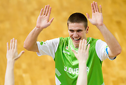 Jaka Brodnik of Slovenia celebrates after winning the basketball match between National teams of Turkey and Slovenia in Qualifying Round of U20 Men European Championship Slovenia 2012, on July 17, 2012 in Domzale, Slovenia. Slovenia defeated Turkey 72-71 in last second of the game. (Photo by Vid Ponikvar / Sportida.com)