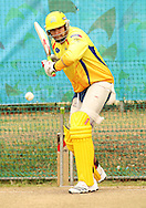 Justin Kemp of the Chennai Super Kings attempts to attack a delivery during the Superkings  training session held at St Georges Park in Port Elizabeth on the 17 September 2010..Photo by: Shaun Roy/SPORTZPICS/CLT20