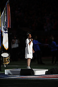 Gladys Knight sings the National Anthem before the NFL Super Bowl 53 football game featuring the New England Patriots against the Los Angeles Rams on Sunday, Feb. 3, 2019, in Atlanta. The Patriots defeated the Rams 13-3. (©Paul Anthony Spinelli)