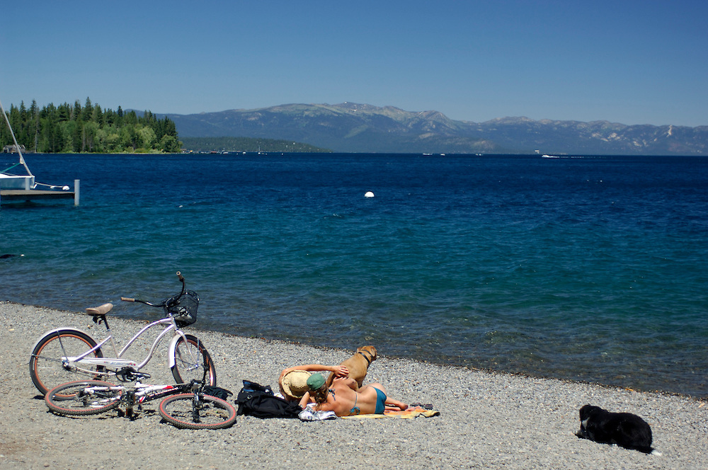 People at Beach, Lake Tahoe, Tahoe City, California, United States of America