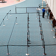 The TSA Line at Orlando International Airport remains functional but mostly empty to air passengers, due to the Coronavirus (Covid-19) outbreak on Friday, April 17, 2020 in Orlando, Florida. (Alex Menendez via AP)