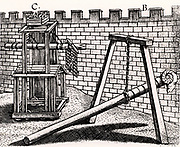 Roman soldiers using two forms of battering ram against the walls of a fortress.  B is hung on a chain hanging from a frame, so enabling the men to concentrate their strength on thrusting the battering ram forward rather than the simpler form carried on their shoulders. C is mounted on a siege tower.  From 'Poliorceticon sive de machinis tormentis telis' by Justus Lipsius (Joost Lips) (Antwerp, 1605). Engraving.