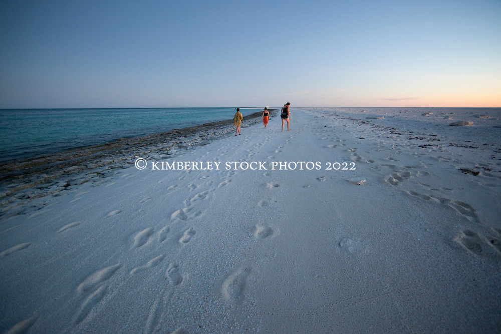 "Tourists from ""MV Odyssey"", one of the Kimberley charter boats, walk on Bedwell Island at the Rowley Shoals.  Bedwell Island is a small sand cay, home to one of Western Australia's two only colonies of Red-tailed Tropicbirds (Phaeton rubricauda), and an important resting site for migratory birds."