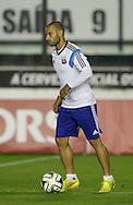 Javier Mascherano of Argentina in action during the Argentina training session at the Est&aacute;dio S&atilde;o Janu&aacute;rio, Rio de Janeiro, ahead of tomorrow's World Cup Final.<br /> Picture by Andrew Tobin/Focus Images Ltd +44 7710 761829<br /> 12/07/2014