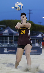 April 6, 2018 - Tucson, AZ, U.S. - TUCSON, AZ - APRIL 06: Arizona State Sun Devils Kara Woodard (24) hits the ball during a college beach volleyball match between the Arizona State Sun Devils and the Arizona Wildcats on April 06, 2018, at Bear Down Beach in Tucson, AZ. Arizona defeated Arizona State 4-1. (Photo by Jacob Snow/Icon Sportswire (Credit Image: © Jacob Snow/Icon SMI via ZUMA Press)