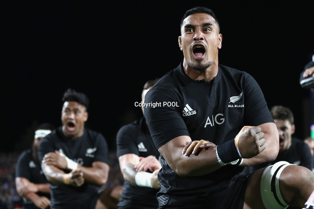 HAMILTON, NEW ZEALAND - SEPTEMBER 10:  Jerome Kaino of the All Blacks performs the haka  during the Rugby Championship match between the New Zealand All Blacks and Argentina at Waikato Stadium on September 10, 2016 in Hamilton, New Zealand.  (Photo by Phil Walter/Pool)