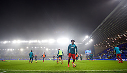 LIVERPOOL, ENGLAND - Monday, December 18, 2017: Swansea City players warm-up as the miist descends on Goodison Park during the FA Premier League match between Everton and Swansea City. (Pic by David Rawcliffe/Propaganda)