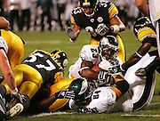 PITTSBURGH - AUG 15:  Rookie running back Ryan Moats #23 of the Philadelphia Eagles scores one of his two rushing touchdowns against the Pittsburgh Steelers during a preseason game at Heinz Field in Pittsburgh, Pennsylvania on August 15, 2005. The Steelers defeated the Eagles 38-31. ©Paul Anthony Spinelli *** Local Caption *** Ryan Moats