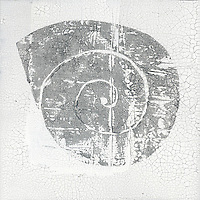Fragmenting white and gray abstract art.